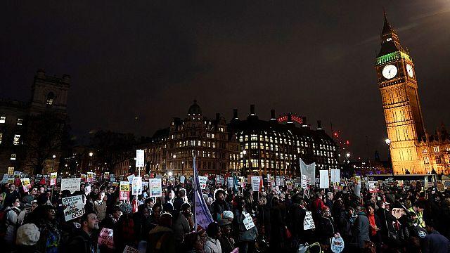 Britain defends Trump visit despite protests