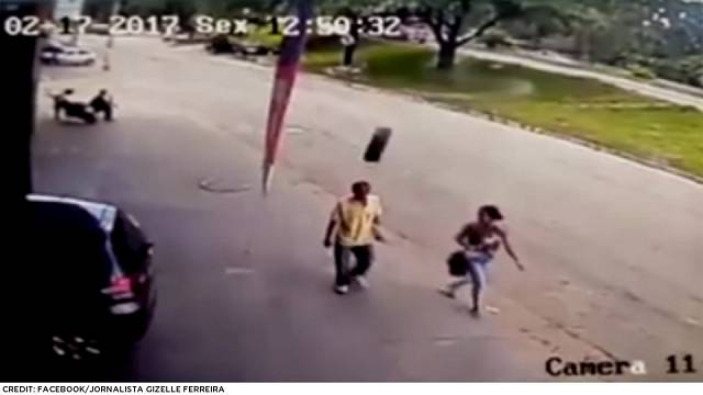 Distressing footage shows fast-moving tyre floor pedestrian in Brazil
