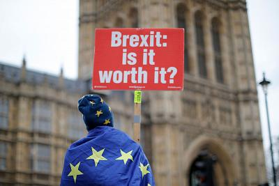 An anti-Brexit demonstration outside the Houses of Parliament in London on Monday.