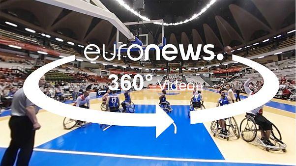 كرة السلة للكراسي المتحركة ب 360 درجة