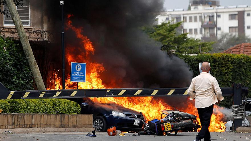 Image: Cars on fire at the Dusit hotel compound where explosions and gunsho