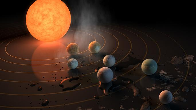 Descubiertos siete exoplanetas similares a la Tierra a 40 años luz