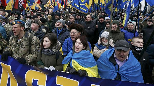 Ukraine nationalists demand purge of government on the third anniversary of the Maidan uprising