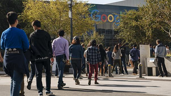 Image: Google employees during a walkout protest in Mountain View, Californ