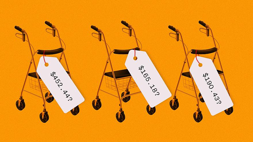 Photo illustration with the same three walkers with different prices.