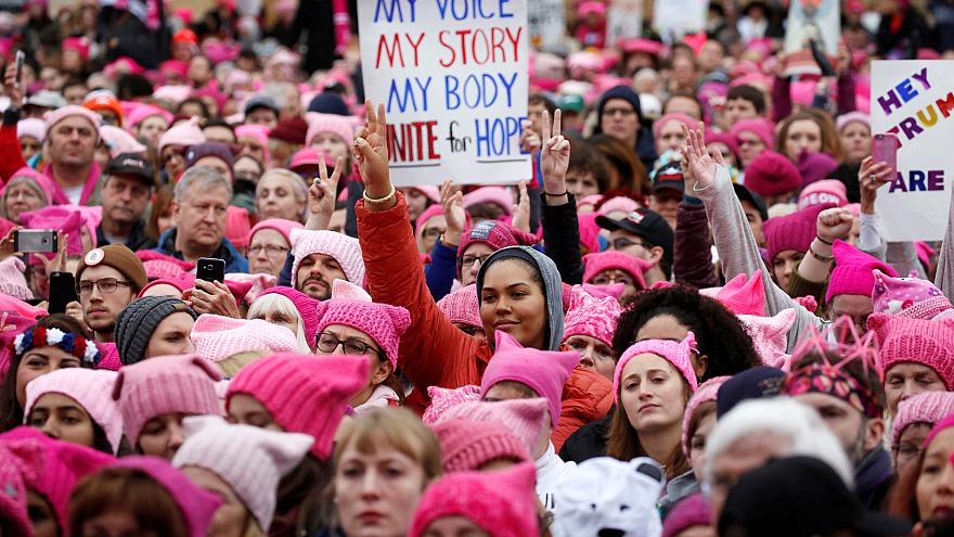 Image: People gather for the Women's March in Washington, DC, Jan. 21, 2017