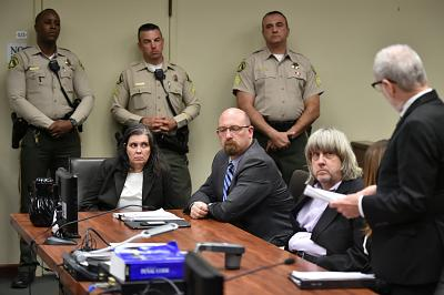 David Turpin, second right, and Louise Turpin, second left, appear in court for their arraignment in Riverside, California on Jan. 18, 2018.