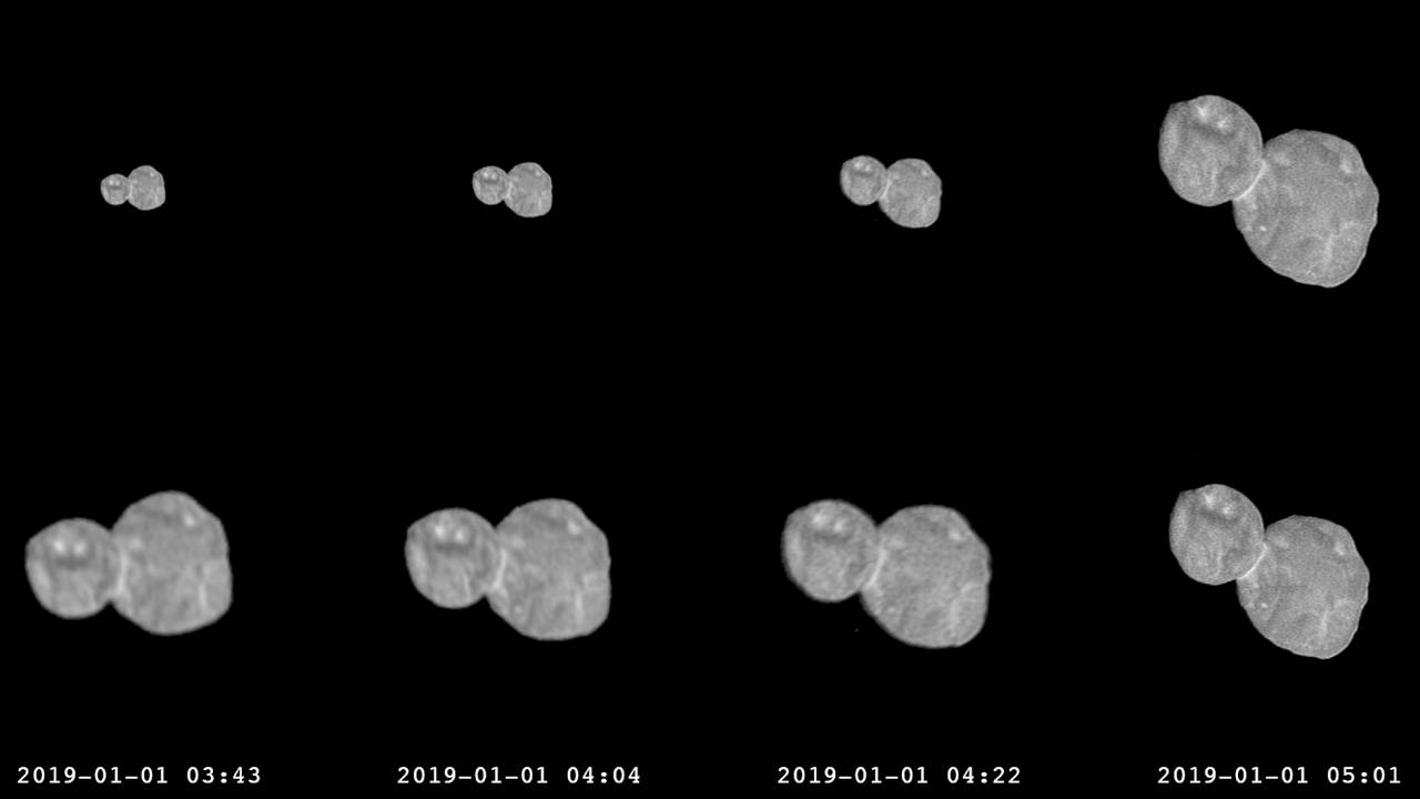 Image: A series of photographs made by the New Horizons spacecraft approach