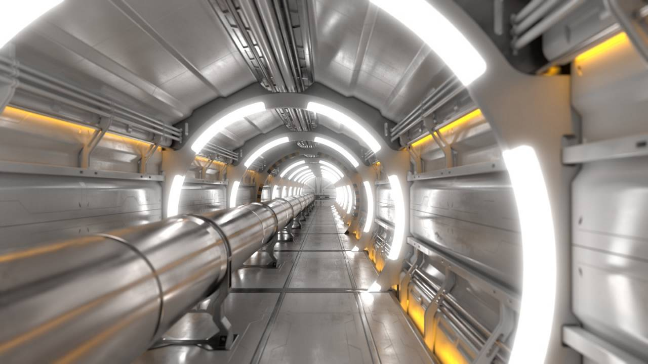Image: A tunnel interior of a particle collider.