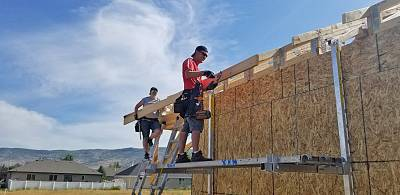 Lisa and Craig Godfrey construct their house in Heber City, Utah.