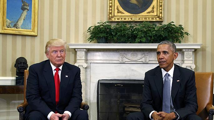 Trump accuses Obama of leaks and orchestrating protests