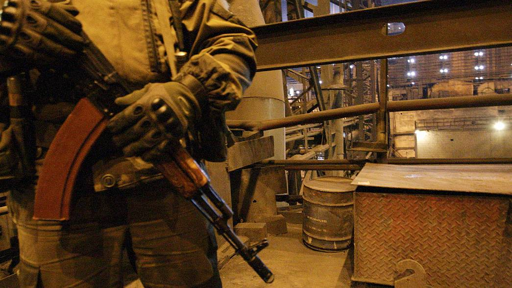 Clashes between nationalists and separatists at a rail blockade in eastern Ukraine