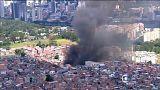 Brezilya'da gecekondu mahallesinde yangın