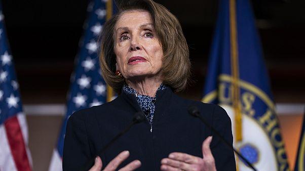 Image: House Minority Leader Nancy Pelosi speaks to the media in Washington