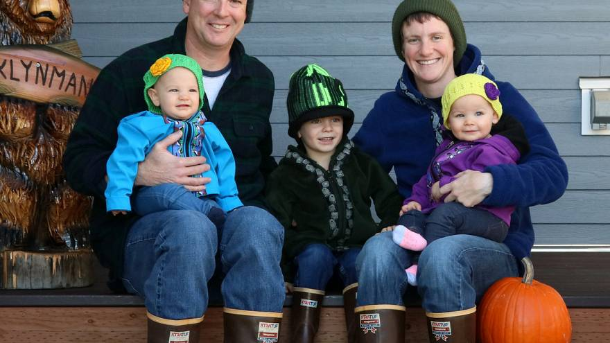 Image: Greg and Lizzy Klynman with their three children.
