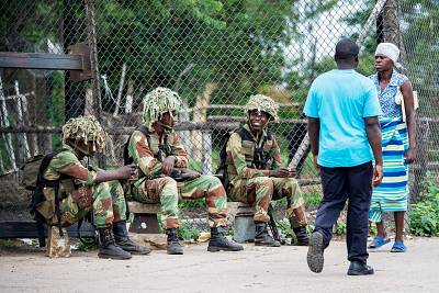Soldiers were stationed at entry points into the city of Bulawayo, Zimbabwe, on Thursday.