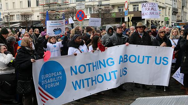 Protesters gather outside European Parliament over Accessibility Act