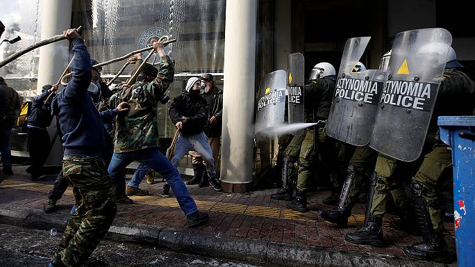 Cretan farmers clash with Athens police at reform protest