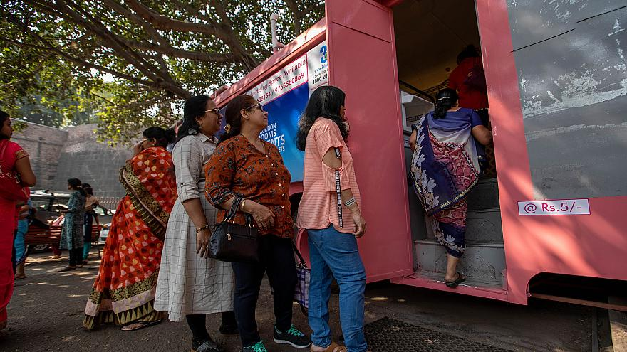 Image: Women wait to use the Shaniwar Wada bus toilet for women in Pune, In