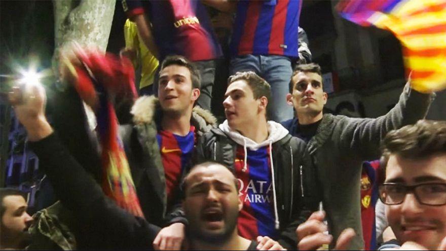 Un millar de aficionados del Barcelona celebran la 'remontada milagrosa' ante el PSG