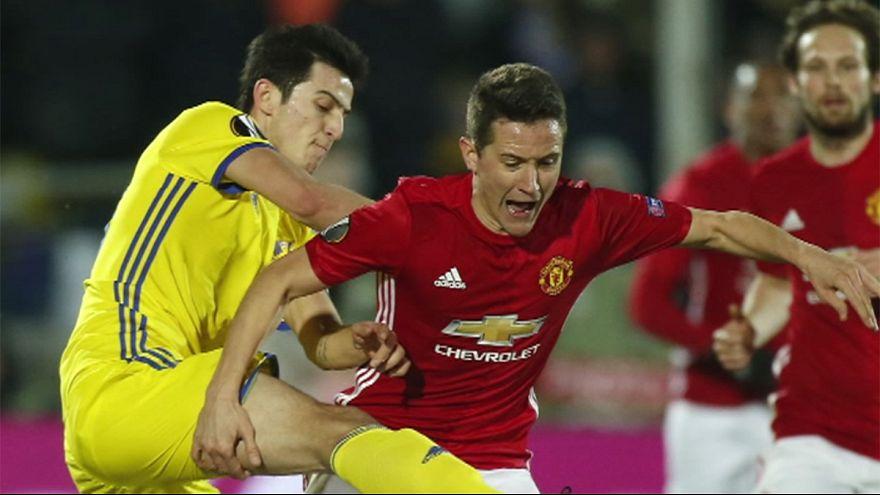ليون يفوزعلى روما والمان يونايتيد يتعادل أمام روستوف في ذهاب ثمن نهائي أوروبا ليغ