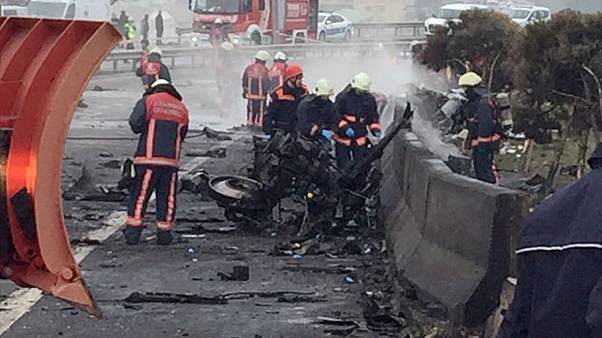 Seven reported killed as helicopter crashes onto motorway in Istanbul