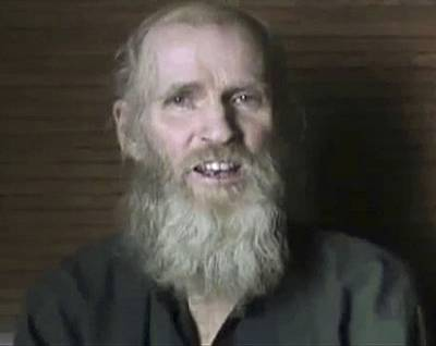 American Kevin King appears in an image taken from video released by the Taliban in June 2017.