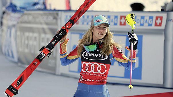 Микаэла Шиффрин выиграла этап в слаломе и завоевала Малый хрустальный глобус