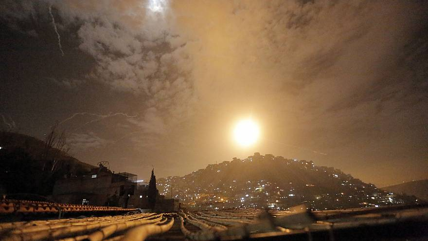 Image: Syrian air defenses intercept Israeli missiles targeting an area in