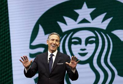 Starbucks CEO Howard Schultz speaks at the Starbucks annual shareholders meeting in Seattle on March 22, 2017.