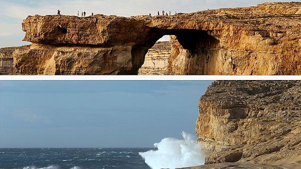 البحر يبتلع الشباك اللازوردي في مالطا