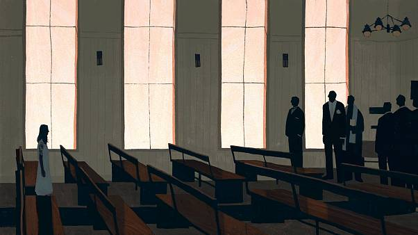 Image: Illustration of young girl walking down church aisle.