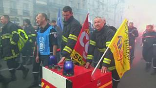 French firefighters protest against budget cuts