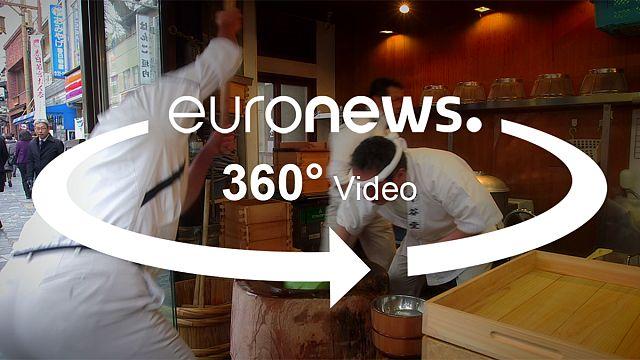اسرع فريق ياباني لإعداد الموتشي بتقنية 360 °
