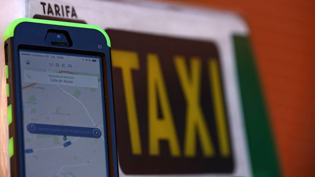 Spanish taxi drivers strike against Uber and Cabify