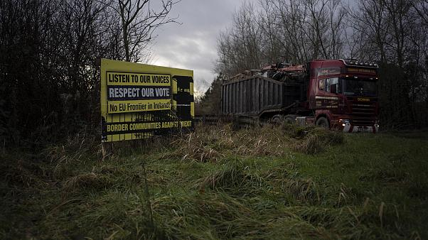 Image:  An anti-Brexit sign close to the border near Teemore, Northern Irel