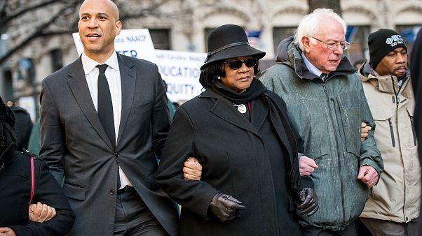 Sen. Bernie Sanders,I - Vt., right, president of the South Carolina NAACP c