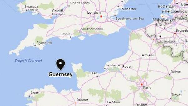 Image: A map showing Guernsey