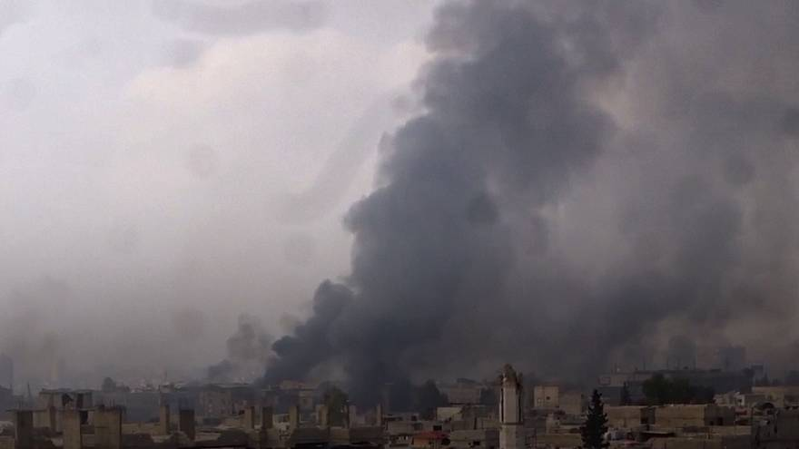 Syrian forces bombard rebel positions on the outskirts of Damascus