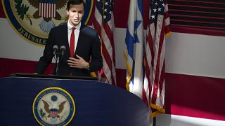 Image: Jared Kushner speaks on stage during the opening of the U.S. embassy