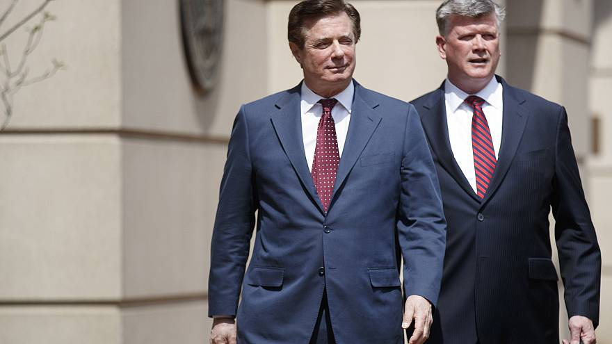 Paul Manafort and his lawyer, Kevin Downing, after a motion hearing at the