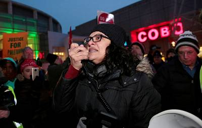 Democratic Congresswoman Rashida Tlaib, of Michigan, addresses a coalition of labor, environmental and community groups during a rally to protest General Motors\' planned assembly plant closings in Detroit, Mich., earlier this month.
