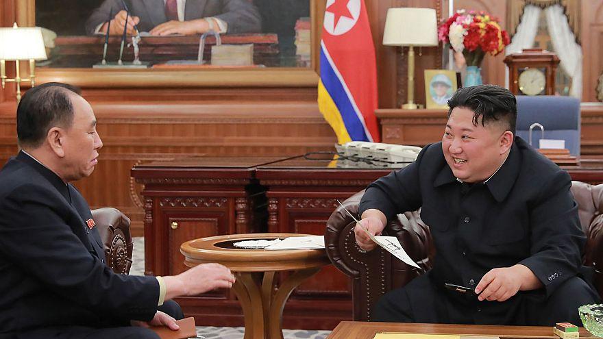 Image: North Korean leader Kim Jong Un talking with Kim Yong Chol