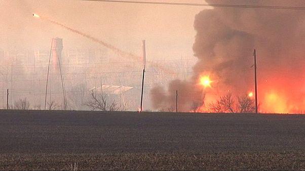 آتش سوزی در انبار ارتش اوکراین