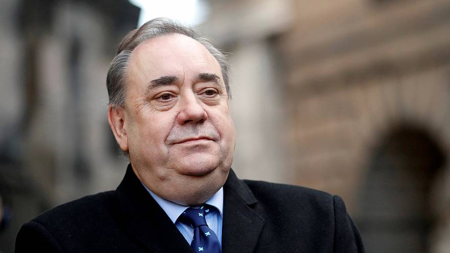 Image: Former First Minister of Scotland Alex Salmond speaks to the media f
