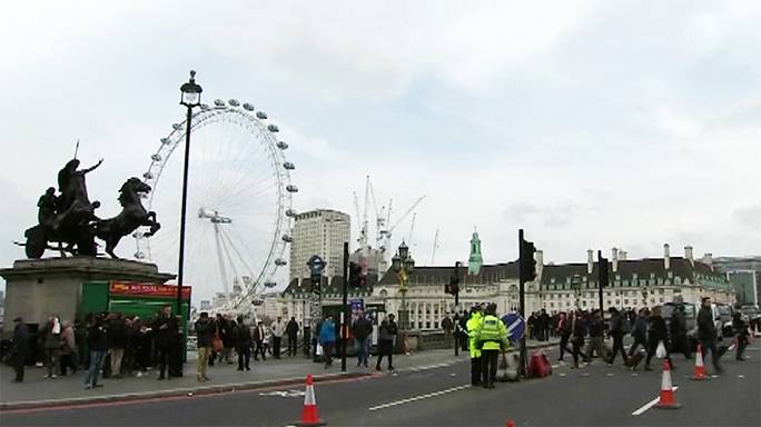 Westminster Bridge teeming with people day after terrorist attack