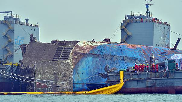 Stricken South Korean ferry raised from the sea bed
