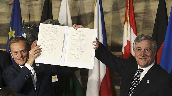 AB liderleri 'tarihi' zirve için Roma'da bir araya geldi