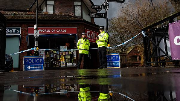 Image: Police officers near a scene connected to the nerve agent attack on