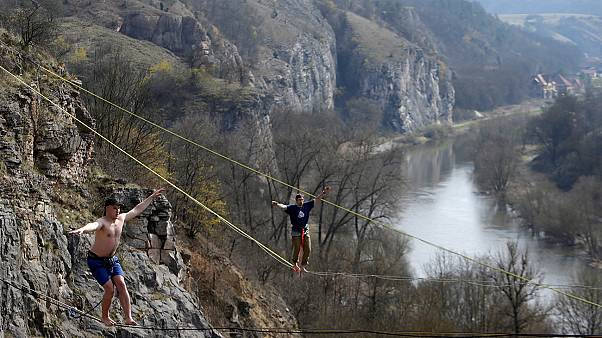 Slackline festival in old Czech quarry